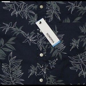 Sonoma Shirts - Sonoma Casual Short Sleeve Shirt Navy Blue Floral